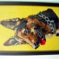 Kristik Kerajinan Tangan gambar anjing herder dgn bingkai kayu & kaca
