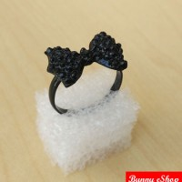 harga Bunny Black Rhinestone Butterfly Bow Ring nz291 [FSR-0002] Tokopedia.com