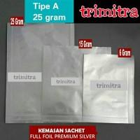 Plastik Kemasan Sachet Full Aluminium Foil Premium Silver 25 gram