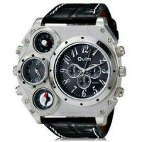 jam tangan Leather Band Watch 134 silver black x9