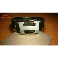 Belt Hermes Good Quality Black Leather Strap Silver Buckle