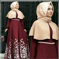 gamis muslim/reva hijab/dress red/maxi spandek/busana muslim