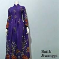 Jual Terbaru Baju Gamis Batik Wanita Kipas Ungu, Busui, Baju Pesta Murah