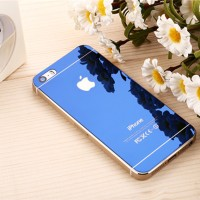 Jual Tempered Glass Mirror Front-Back Set iPhone 6/6S Plus - Blue Murah