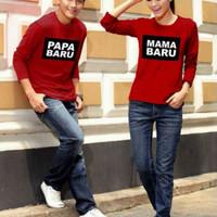 (Harga Sepasang) Baju Couple Lp Papa - Mama - Red Kaos Couple Gr 341C