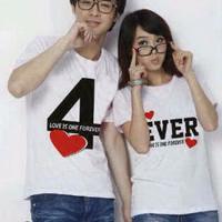 (Harga Sepasang) Kaos Couple Baju Couple Forever Putih GO8A