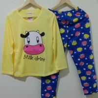 Baju Tidur Setelan Panjang - Piyama Sleepwear Lucu - Sapi Moo Kuning