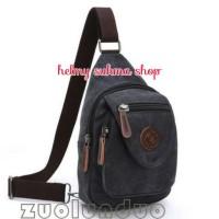 tas dada/punggung kanvas mugu 8808 hitam (tas sling)