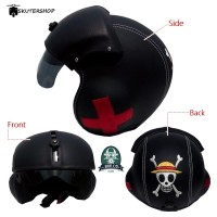 Helm Pilot Berkaca BRO.co Motif One Piece Black Solid 3 side Bordir