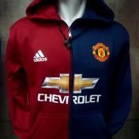 Hoodie Zipper Manchester United Biru-Merah