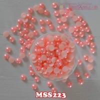 MSS223 Manik Mutiara Setengah Uk 8mm Warna Peach (Per Butir)