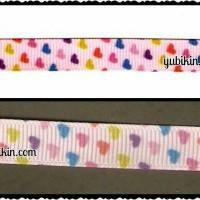 1,9 Meter Pita Grossgrain Motif Love Rainbow 1cm Pink