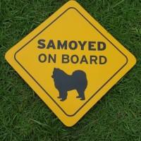 """Hiasan Tempelan Kaca Mobil Anjing Doggy Pet """"Samoyed on Board"""