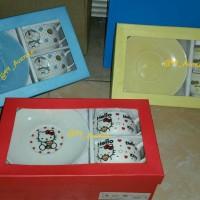 Mug Cangkir + Tatakan Keramik Karakter Doraemon Spongebob Hello Kitty