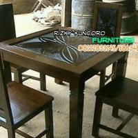 set kursi meja makan jati 4k