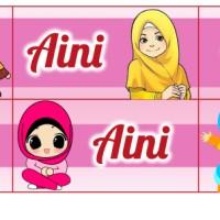 Sticker Label Nama Waterproof Edisi Muslim dan Muslimah