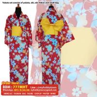 Yukata/Kimono Wanita : Red Sakura & Goldfish
