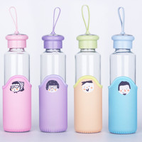 Botol minum anak dewasa Thumbler kaca sekolah travel motif lucu KHM130