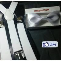 Jual Dasi kupu2 (Bowtie) & Suspender (tali kodok) Polos Warna Putih Murah