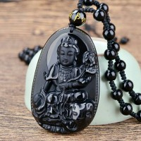 harga Kalung Liontin Batu Giok Hitam Budha Natural Obsidian Black SLD05 Tokopedia.com