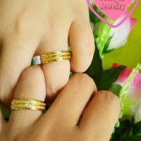Set Cincin Couple Pasir Gold Lapis Emas ~ Ring Love ~ Nesya Jewellry