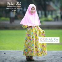 Baju Gamis Anak + Jilbab Delisa Green-Pink Ori Naura
