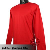 Kaos Polos Lengan Panjang Merah o-neck Cotton Combed 20s S/M/L/XL