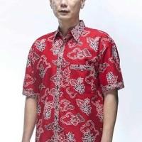 Kemeja / Hem / Atasan / Baju / Seragam Pria Batik 1360 Merah Big Size