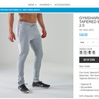 Gymshark Fit Tapered Bottoms - Grey Marl / White