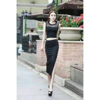 harga CC1579 baju crop hitam merah setelan rok split skirt Tokopedia.com