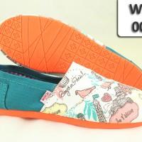 harga Wakai Shoes WKL-009 Hijau Putih Motif Paris Sol Orange Tokopedia.com