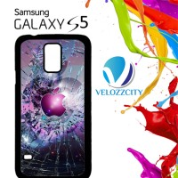 Custom Casing HP Samsung Galaxy S4, S5 apple logo cracked Z3824 Hardca