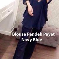 Blouse / Tunik / Baju Kalong / Kaftan Payet Navy Blue