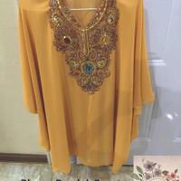 Blouse / Tunik / Baju Kalong / Kaftan Payet Kuning