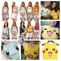 Grosir Kaos Baju Tank Top Crop Tee Pokemon Pikachu Untuk Wanita Impor
