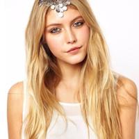 Headpiece Headchain Headband Silver Simple Elegan Hiasan Jilbab Rambut