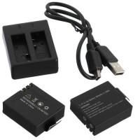 Paket Dual Charger + 1 Battery cadangan KOGAN , SJCAM, BPRO, SBOX dll