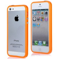 APPLE iPhone 5, 5s & 5 SE Bumper case-casing rubber - ORANGE