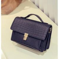 tas handbag bisa selempang hitam polos keren mewah wanita pergi formal
