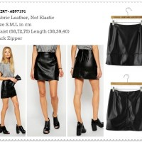 Rok Span Kulit Leather Mini Skirt Korea Import Black AB97191 Murah