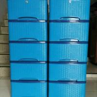 Jual lemari plastik motif rotan 5 susun / container cabinet Murah