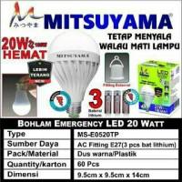harga Lampu Bohlam Led Emergency Mitsuyama 20 Watt / Sentuh / Ajaib Tokopedia.com