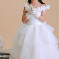 Gaun Pesta anak model sabrina bunga dan rok bertingkat putih