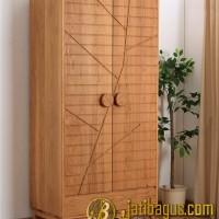 Lemari Pakaian Minimalis Pintu 2 Jati [ Motif Batang Pohon ]