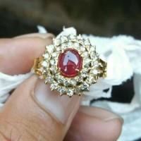 cincin merah ruby kombinasi berlian eropa ikat emas