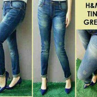 Jeans Ripped / Jeans Sobek / H&M Tint Green Big Size / Size 35-38