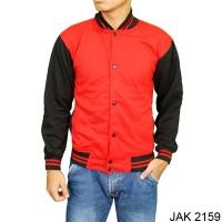 Jaket Baseball Polos Fleece Merah  JAK 2159