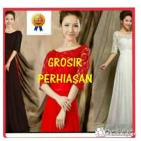 Jual dress maxi merah putih hitam / gaun pesta / gamis brokat bagus Murah