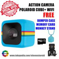 Jual Polaroid Cube+ Wifi Blue Free Bumper Case SD Card Monkey Stand Murah