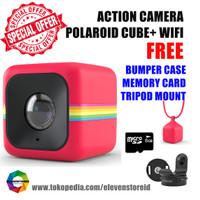 Jual Polaroid Cube+ Wifi Red Free Bumper Case SD Card Tripod Mount Murah